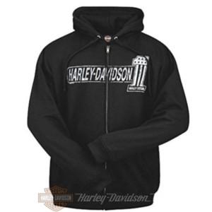 R0018266 Harley-Davidson Bari Felpa Nera Numero Uno con Cappuccio e logo Bari Italy