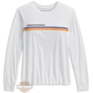 96183-20VW T-shirt da donna a maniche lunghe con righe sul petto Harley-Davidson®, bianca