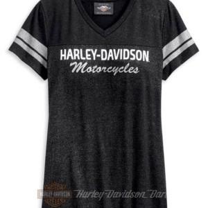 96228-20VW T-shirt manica corta da donna con collo a V e maniche a righe Harley-Davidson