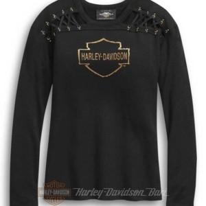 96325-20VW Harley-Davidson T-shirt da Donna manica lunga con spalle allacciate - nera