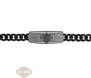 HSB0200-9 Harley-davidson Braccialetto black edge curb link chan